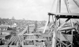 [Northern view of the Burrard Bridge under construction]