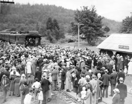 [Crowds at re-enactment of arrival of first train]