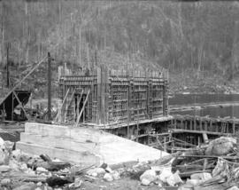 [Exterior of partially constructed gate house for Buntzen Lake Power Plant number two]