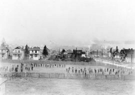 [View from 2596 Dundas Street of the 29th Battalion drilling in Callister Park]