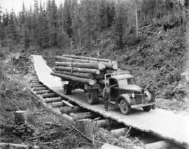 Upper Fraser Mills.  Trucking on plank roads