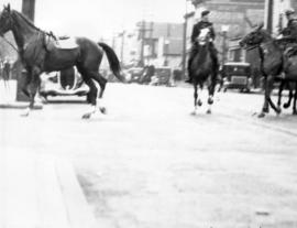 [Mounted police during the Powell Street Riot]