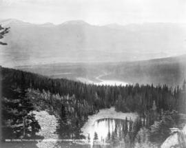 Looking from Lake Agnes, showing portion of Mirror and Louise Lakes and Chalet near Laggan, Alta.
