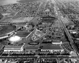 Aerial view of P.N.E. grounds looking east