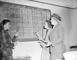 Community Chest campaign workers[recording contributions on a blackboard]