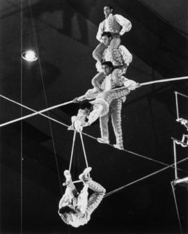 Acrobats performing high wire act in circus performance