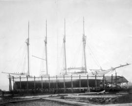 "[Schooner ""Robert R. Hinds"" in dry dock]"