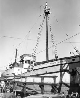 "[The ""St. Roch"" in dry dock at Coal Harbour Shipyard]"