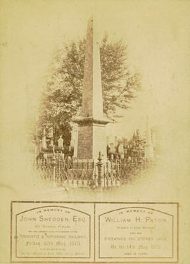 [Memorial gravesite to John Sheddon and his nephew William H. Paton]