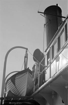 [A Union Steamship's lifeboat and funnel]