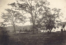 [View of the 2nd Battalion, 5th Regiment, Canadian Garrison Artillery in camp at Beacon Hill]
