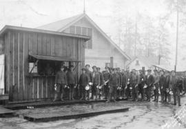 [Troops line up at at canteen at Hastings Park camp]