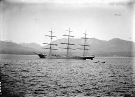 [Sailing ship and rowboat in Burrard Inlet]