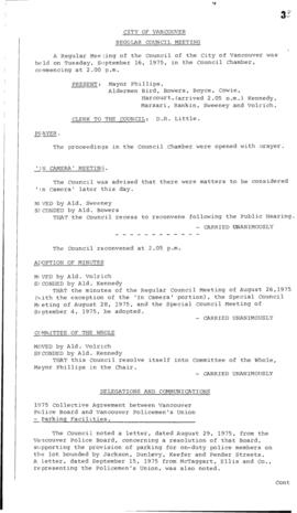 Council Meeting Minutes : Sept. 16, 1975