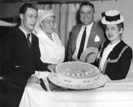 [Miss Margaret McNeil presents a diamond jubilee cake to the patients of Shaughnessy Hospital]