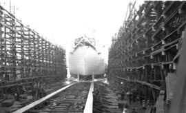 [Cargo ship going down the ways at West Coast Shipbuilders, Ltd., 205 West 1st Avenue]