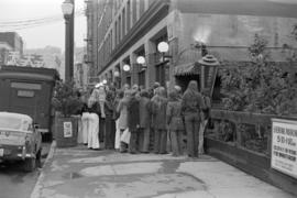 Customer queue outside the Old Spaghetti Factory