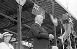 Prime Minister of Canada, Richard Bedford Bennett, speaking at Brockton Point Grandstand for Gold...