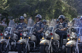 Police riding motorcycles at Sea Festival Parade