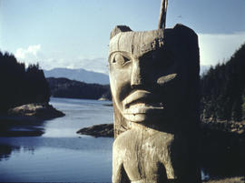 [First prize in Union Steamship's photo contest showing a totem pole and a view of the water in t...