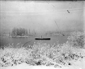 [View of ship in Coal Harbour and Deadman's Island, from foot of Bute Street]