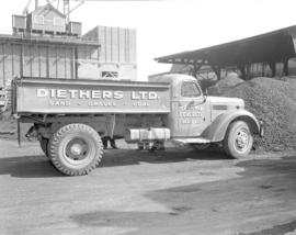 [Diethers Ltd. sand and gravel truck at the plant on Granville Island]