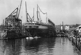 """Princess Louise"" launching at Wallace Shipbuilding"