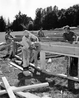 [Building a stage at Brockton Point for Diamond Jubilee Celebrations]