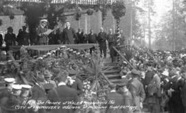 H.R.H. The Prince of Wales replying to the City of Vancouver's address of welcome