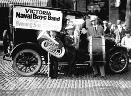 [Mayor L.D. Taylor with the Victoria Naval Boys Band]