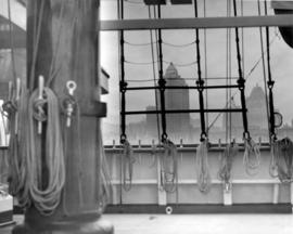 "[View of the Marine Building and the Hotel Vancouver through the rigging of the yacht ""Fanto..."
