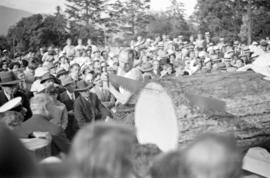 Logger sawing through Douglas fir during celebration of Golden Jubilee at Brockton Point