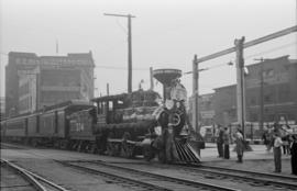 [Engine 374 pulling into Vancouver for its presentation to the City by the CPR]
