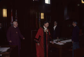 Visit of Bishop of Canterbury, [Mayor Rathie and Bishop of Canterbury] leaving Council [Chambers]