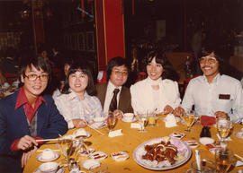 Paul Yee with Winnie Leung, Greg Lam, SKY Lee, and Philip Wong at the wedding banquet of Larry Ch...