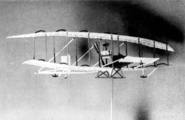 "Scale model of the ""Red Wing"" flown March 12, 1908 by F.W. ""Casey"" Baldwin pi..."