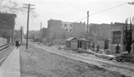 [View of] Pender St. looking east from about Bute St.