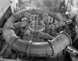 [Vancouver Iron Workers Ltd.  - Scroll case at bottom of Bridge River generators being assembled ...