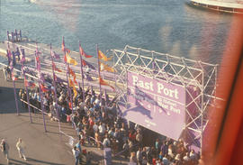 [Expo 86 queue of people at East Port]