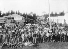 [The men living in Robert McLean and Company construction camp on Macdonald Street at 50th Avenue]