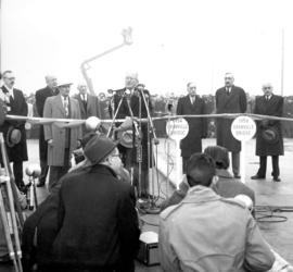 [Alderman J.W. Cornett speaks at the opening of the Granville Bridge]