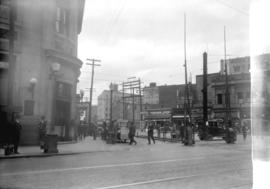 Taken for Duker and Shaw Billboards Ltd. [looking north from Hastings at Carrall where C.P.R. lin...