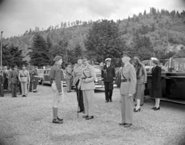 [Lord Alexander, Governor General, being greeted by a member of the Royal Canadian Engineers duri...