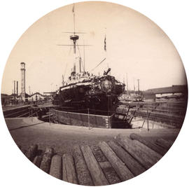 "[H.M.S. ""Warspite"" in dry dock]"