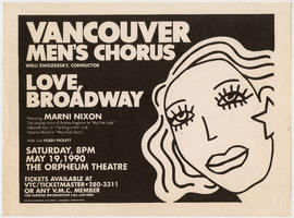 Vancouver Men's Chorus : love, Broadway : May 19, 1990 : The Orpheum Theatre