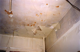 Damaged ceiling inside Columbia Hotel at 303 Columbia Street