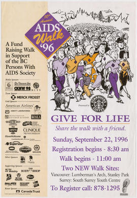 10th annual AIDS walk '96 : give for life : share the walk with a friend : Sunday, September...