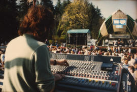Sound board operator for the Malkin Bowl stage