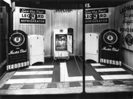 "J.W. Kelly Piano Company [""Leonard""] refrigerator window display"