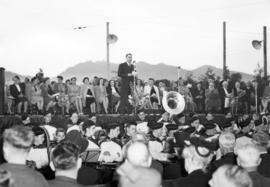 [George H. Baillie at Kitsilano Beach delivering address at the 60th anniversary of the arrival o...
